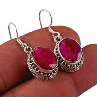 """Indian-Ruby Solid 925 Sterling Silver Earring Jewelry 1.2"""" AE-7467"""
