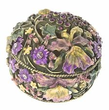 Orchids Jewelry Trinket  Box Crystal Enameled Bejeweled Hinge Metal Collectible