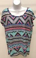 NWT Bobbie Brooks Women's Multi-Color Geometric Top Shirt Size: L