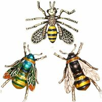 Vintage Charm Bee Insects Bumblebee Gold Plated Crystal Rhinestone Brooch Pin