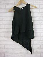 WITCHERY Top Sz 8 Black exposed zip