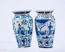 Dollhouse Miniatures Artist JRW Painted Pair Blue & White Vases Asian Inspired
