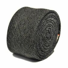 Frederick Thomas mens wool tweed tie in black and white herringbone FT2137