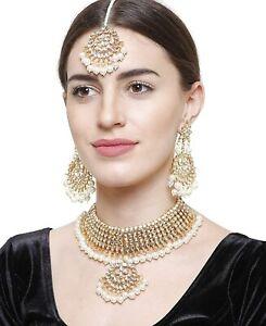 Indian Bollywood Kundan Gold Tone Choker Necklace Set Earrings With TIkka Set