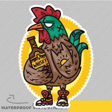 Rooster Drinking Whisky Swag Angry Vinyl Sticker Decal Window Car Van Bike 2622