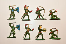 Vintage STARLUX Medieval Foot Knights GREEN Infantry Plastic Toy Soldiers 1:32