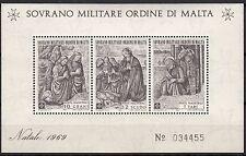 BLOC  TIMBRE MALTE NEUF SOVRANO MILITARE DI MALTA 1969