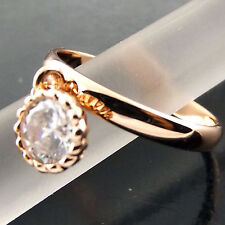 Ring Genuine Real 18k Rose G/F Gold Diamond Simulated Filigree Antique Design