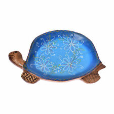 Joyful Turtle Hand Painted Blue Floral Carved Mango Wood Tray