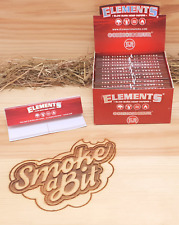 12 Packs Elements RED CONNOISSEUR Rolling Papers Slow Burn King Size Slim + Tips