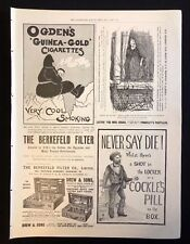 1899 Original Newspaper Advert Page OGDEN'S CIGARETTES, COCKLES PILLS, PASTILLES