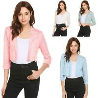 Women Casual Front Open 3/4 Sleeve Solid Short Sexy Regular Fit Cardigan CLSV