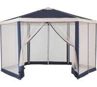 HOME Hexagonal 4m Blue & Cream Garden Gazebo w/ Mesh Panels
