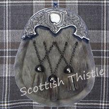 Men's Scottish Full Dress Kilt Sporrans Leather Seal Skin Shamrock Celtic Cantle