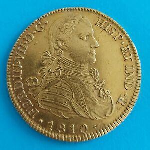 MEXICO gold coin Mexico 8 ESCUDOS 1810 HJ nice AU. Interesting coin.