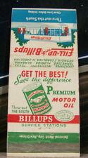 Vintage Matchbook Cover R5 Billups Motor Oil Southern Carolina Texas Alabama