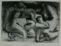 Rudolf Rothe Figuren Radierung  signiert  datiert 1970 Widmung