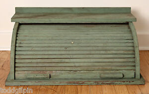 """Primitive Tabletop Rolltop Cabinet Early 20th C. VFW Old Dry Paint ~12x16.25x26"""""""