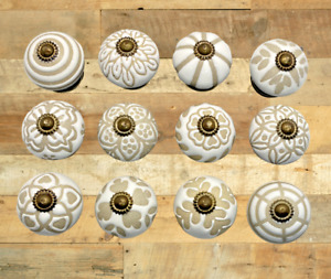 Ceramic Drawer-Cabinet Knobs Beautiful Rustic White&Stone Designs Elegant Decor