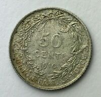 Dated : 1910 - Silver Coin - Belgium - 50 Centimes - Albert I