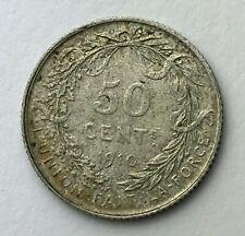 Dated : 1910 - Silver Coin - Belgium - 50 Centimes - Albert I