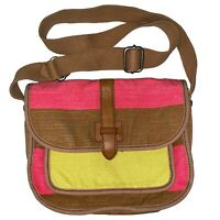 Fossil CrossBody Canvas Bag Cross body Rainbow Key Striped Key Per Purse Clutch