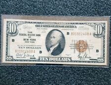 1929 $10 dollars National Currency FRB Of New York  Jones-Woods brown seal.