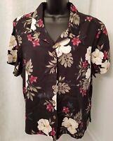 Havana Jack's Cafe Womens Floral Button Down Shirt Top Blouse Size PXL