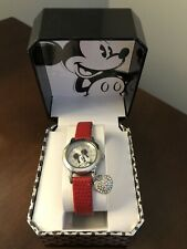 Disney Women's Mickey Mouse Genuine Red Lizard Strap with Charm Watch Mk1018