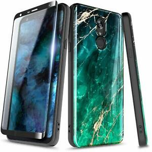 For LG Stylo 4 / Stylo 4 Plus Case Slim Shockproof Marble Cover + Tempered Glass