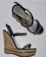BEBE SZ 8 M BLACK LEATHER SILVER CHAIN ESPADRILLE PLATFORM WEDGE HEEL SANDALS