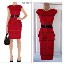 Karen Millen Red Tartan Check Belted Pencil Dress Uk Size 10-12