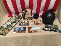 Military Collectibles Lot Cap Flag Vietnam Postcards Artillery Mug Belt Lanyard