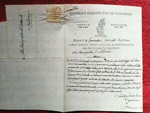 9907-REPUBBLICA CISALPINA,CARLO CAPRARA COMMISSARIO POTERE ESECUTIVO, AUTOGRAFO