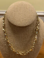 Vintage Gold Tone Chain Link Necklace Costume Jewelry With Matching Clip Earring