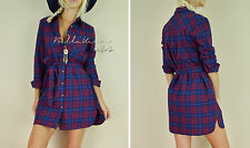 Red Navy Plaid SOFT Flannel Long Tunic Shirt Dress Belted Country Boho S