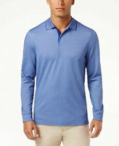 Tasso Elba Men's Supima® Blend Long Sleeve Polo Blue Size L