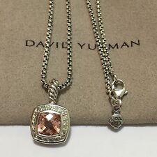 David Yurman Sterling Silver Petite Albion Morganite Diamond Pendant & Chain