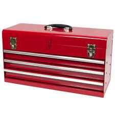 Werkzeugkiste, klein 3 Schubladen, Kugelgelagert rot aus Metall, Werkzeugkasten
