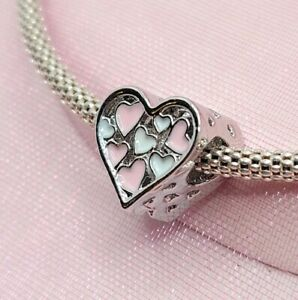 Silver Pink and White Openwork Heart Charm For European Bracelets and Necklaces