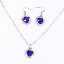 Blue Heart Love Crystal Rhinestone Diamond Necklace Pendant Earrings Jewelry Set