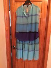 NWT Ann Taylor Maxi Skirt / Blouse-Blue Sz L ($186 Value)