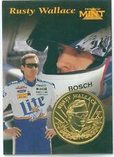 RUSTY WALLACE 1997 Pinnacle Mint 24K Gold Plated Coin & Die Cut Card BV $64.00