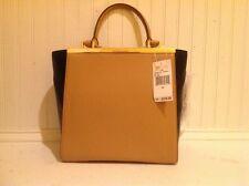 Michael Kors LANA Medium Suntan Black Leather Tote Handbag