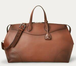 Ralph Lauren Purple Label Brown Burnished Calfskin Leather Voyager Duffel Bag
