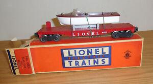 LIONEL ORIGINAL POSTWAR #6801 RED FLATCAR w/BROWN BOAT TRAIN CAR BOXED O GAUGE