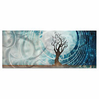 Modern Landscape Painting | Large Abstract Tree Wall Art, Blue Moon Metal Decor
