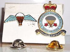 Royal Air Force no1 Parachute Training School pin badge with free wings pin.