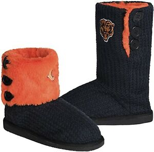 NFL Chicago Bears Knit Team Color High End Button Women Boot Slipper - M Size