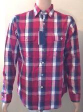Ralph Lauren manga larga para hombre cuadros camisa de rojo azul mediana blanco
